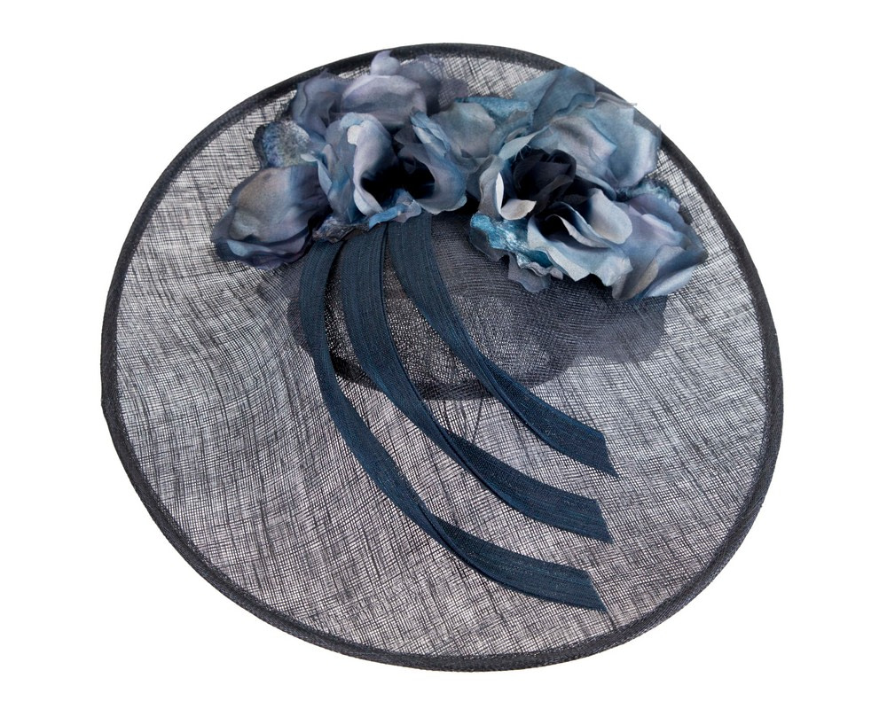 Large navy plate racing fascinator by Fillies Collection