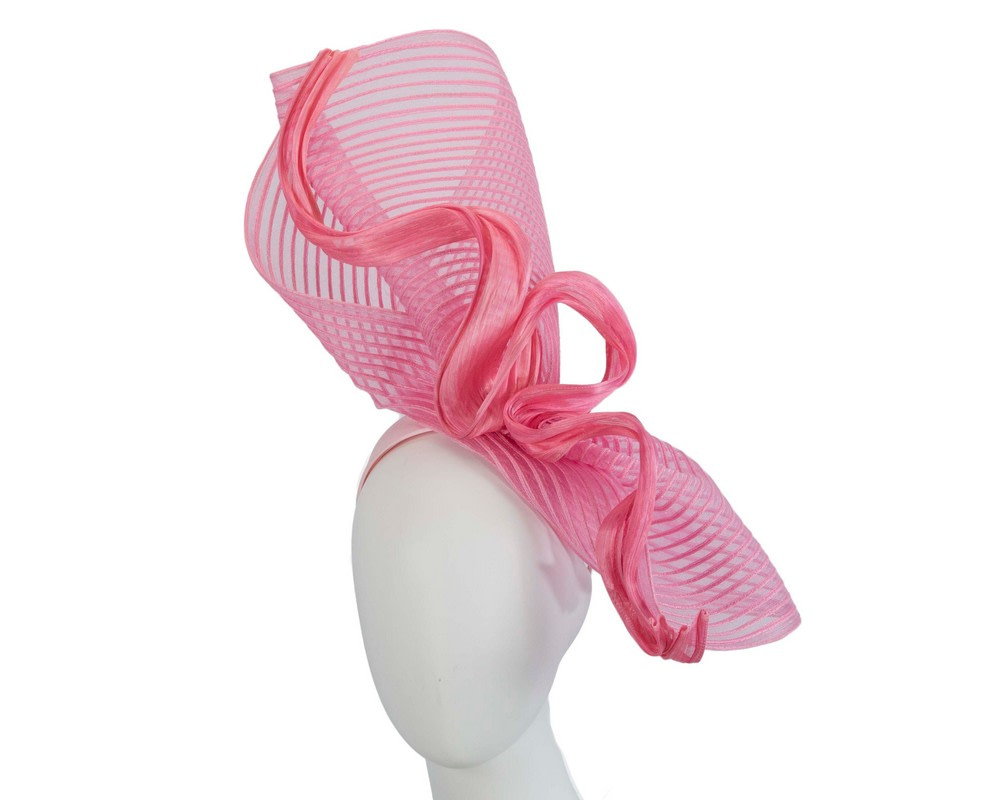 Tall pink bespoke racing fascinator by Fillies Collection