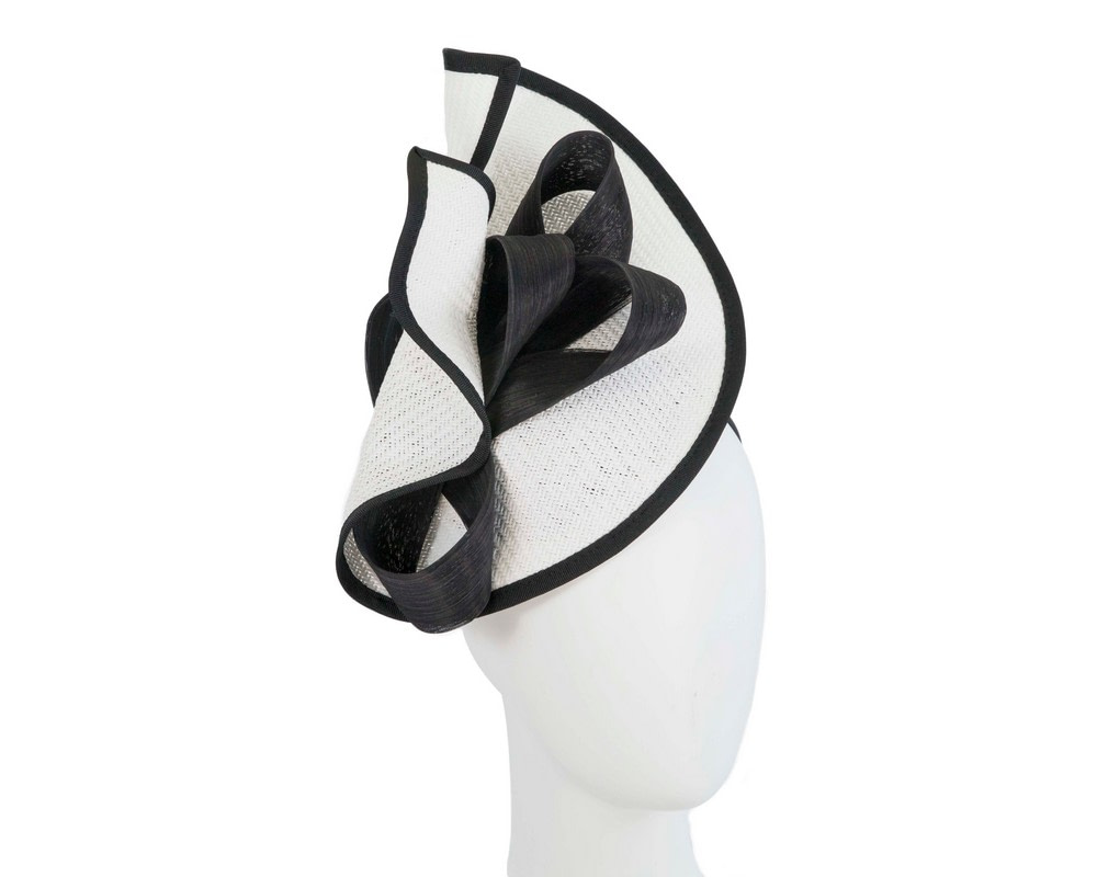 Large white & black Fillies Collection racing fascinator with bow