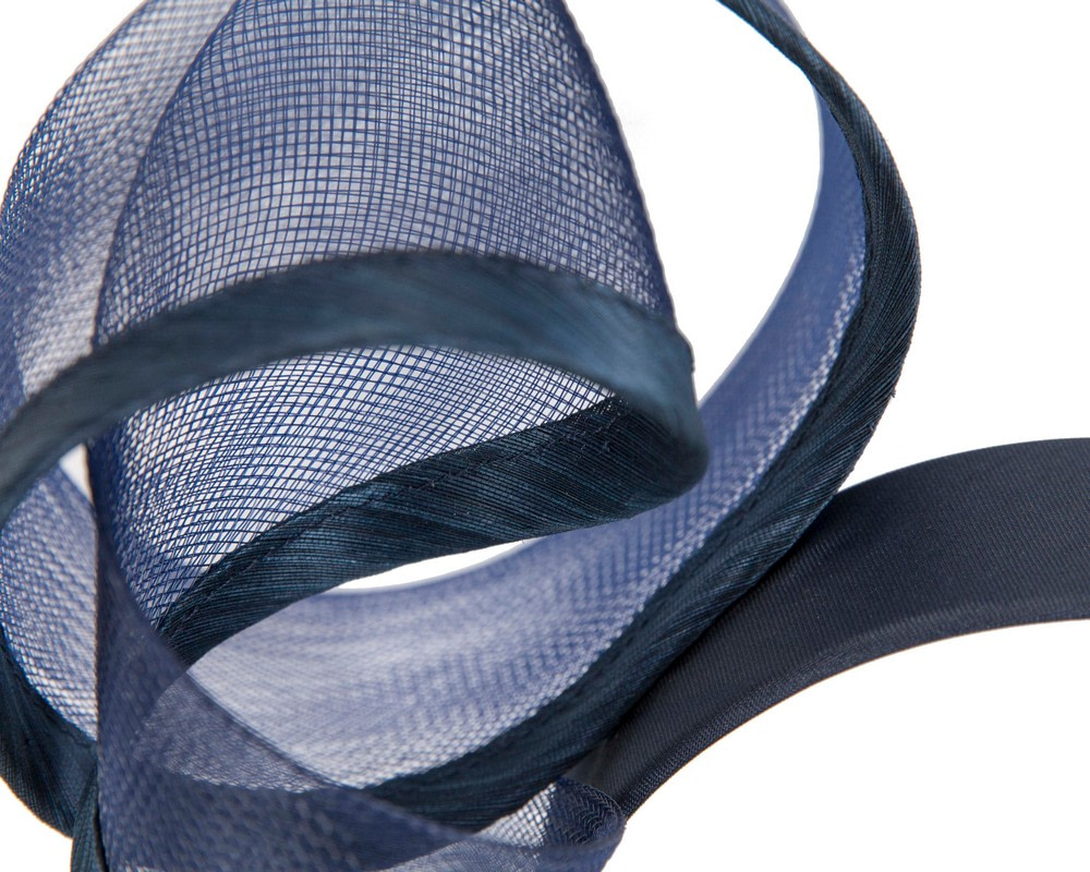 Sculptured navy racing fascinator by Fillies Collection