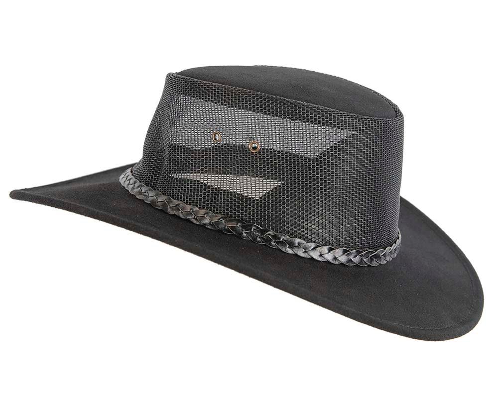 Black Australian Suede Leather Cooler Jacaru Hat