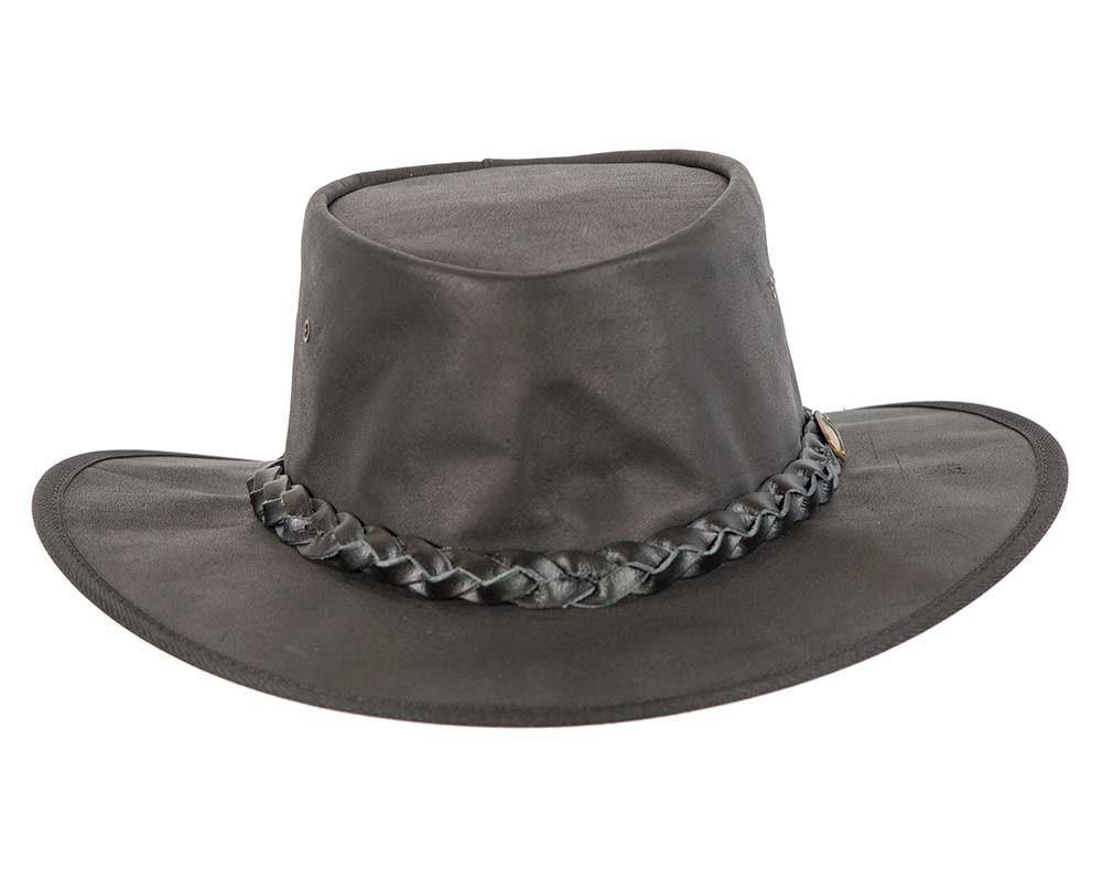 Black Australian Buffalo Leather Bush Outback Jacaru Hat