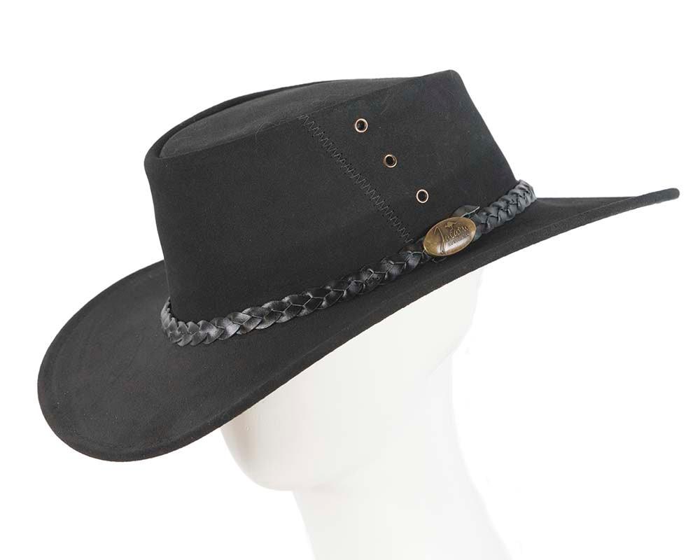 Black Australian Leather Bush Outback Jacaru Hat