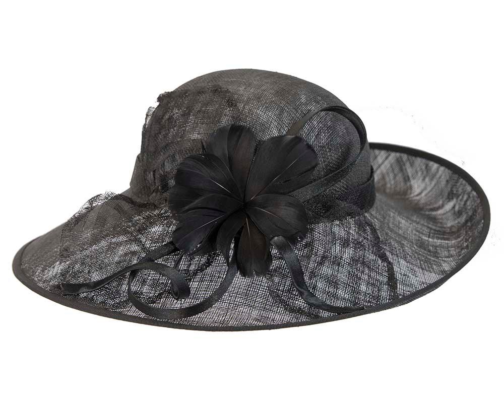 Wide brim black racing hat by Cupids Millinery Melbourne