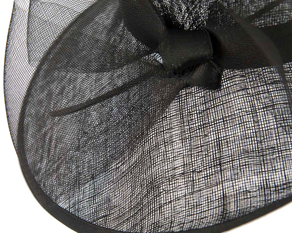 Black asymmetric racing hat with large bow by Cupids Millinery