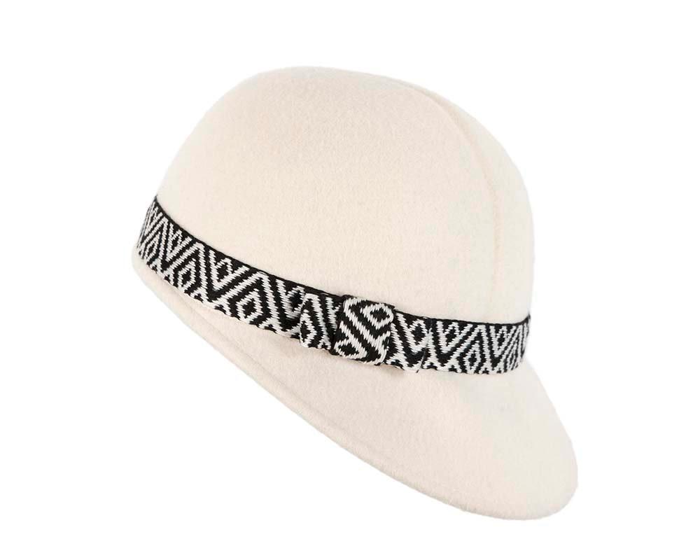 Ivory cream felt ladies fashion cap by Cupids Millinery