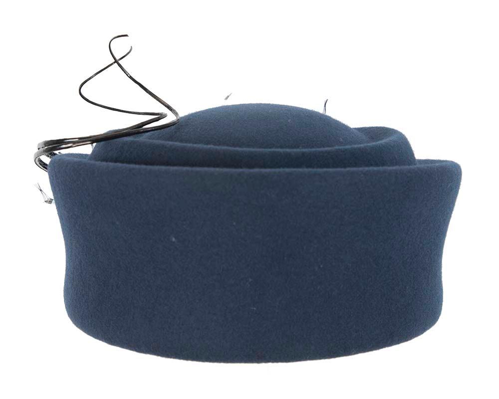 Large navy winter felt pillbox hat for races F572N