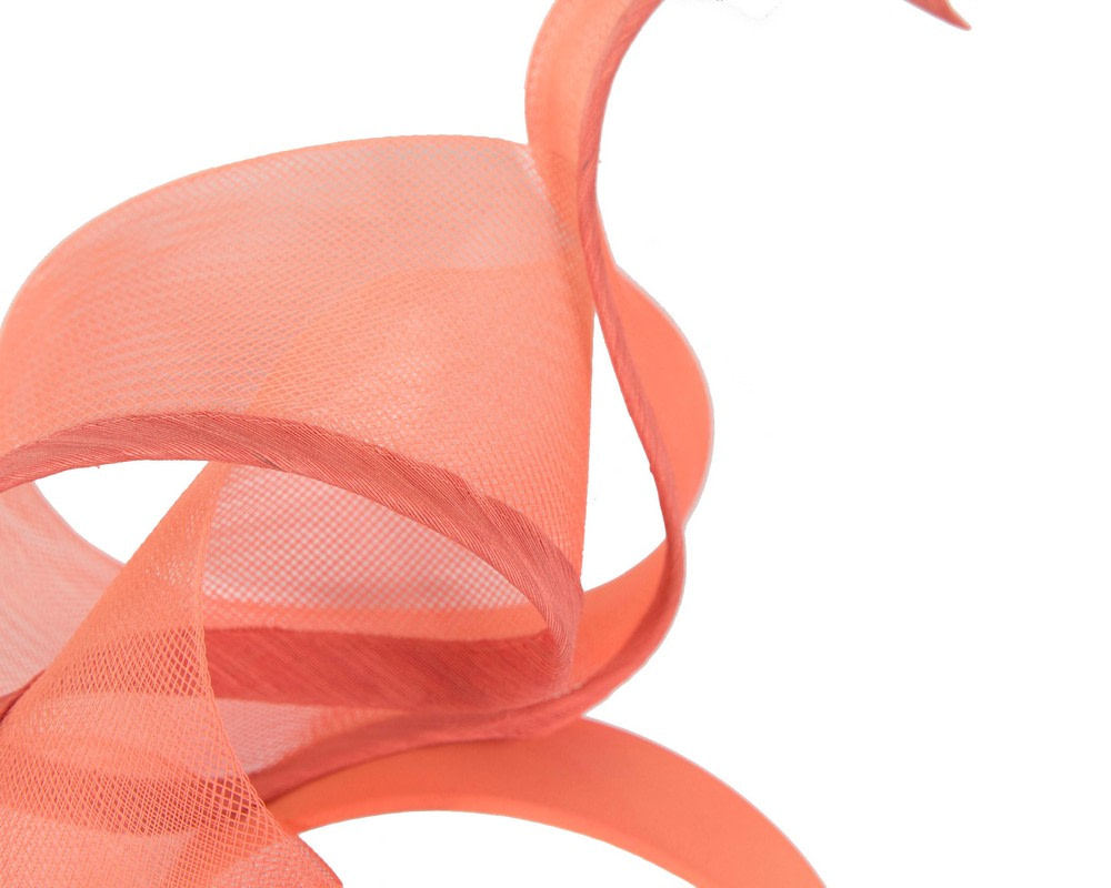 Sculptured coral racing fascinator by Fillies Collection