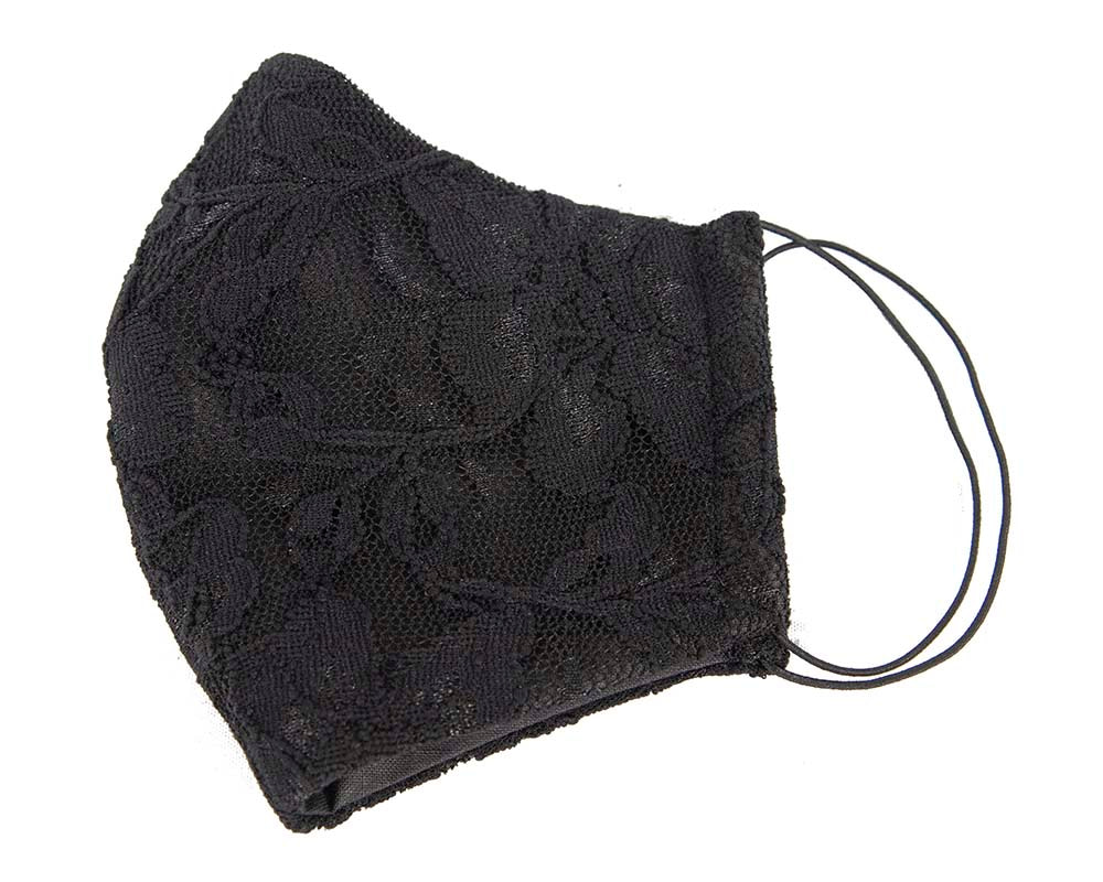 Comfortable re-usable black face mask with lace