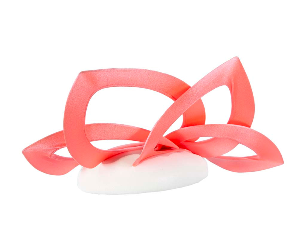 Coral & white leather designers winter racing fascinator by Fillies Collection