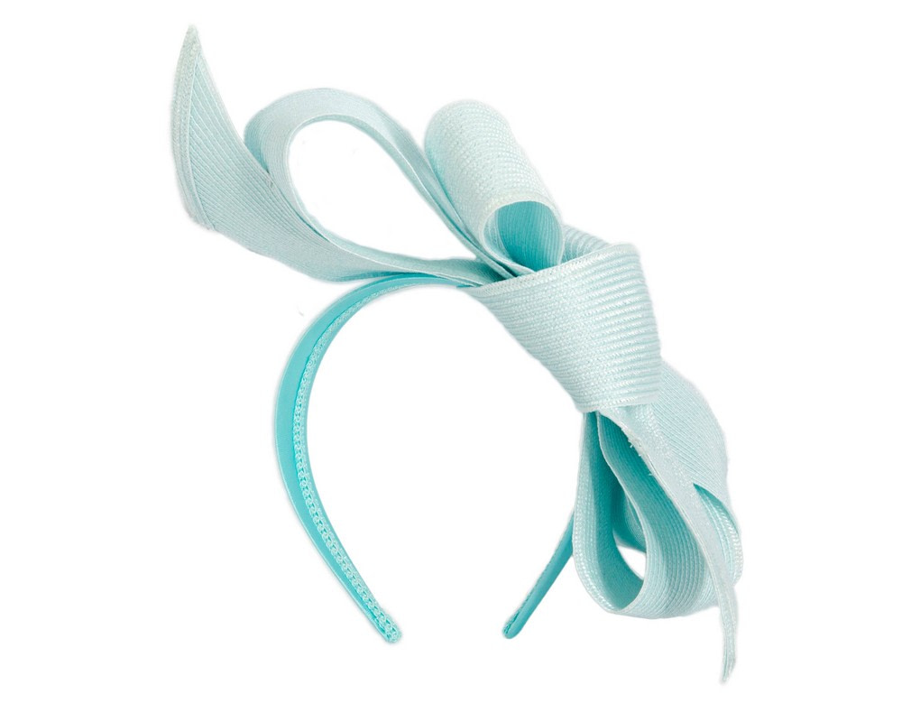 Large light blue bow racing fascinator by Max Alexander