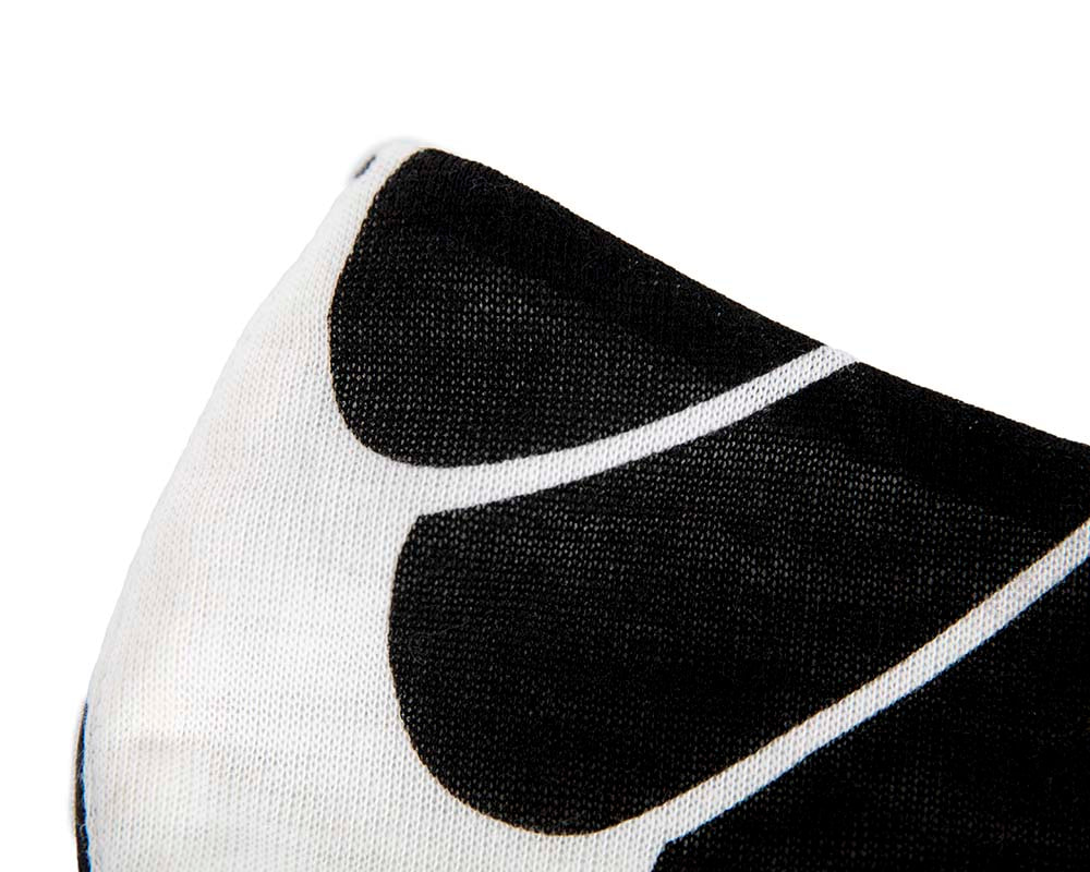 Comfortable re-usable black & white cotton jersey face mask