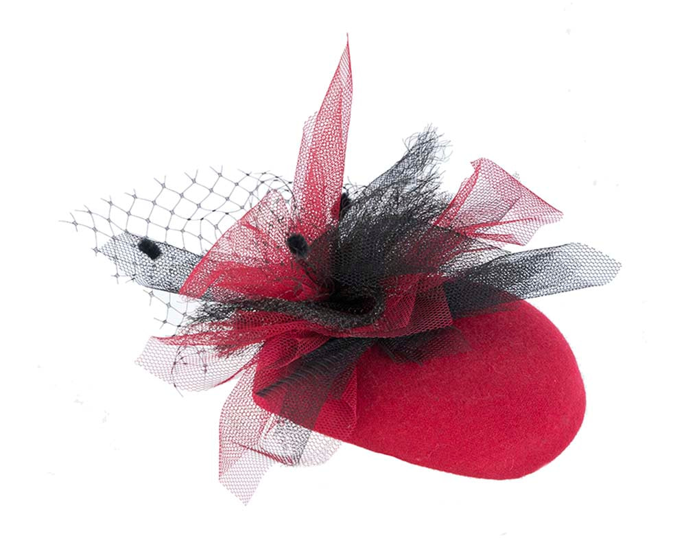 Red winter racing pillbox by Fillies Collection