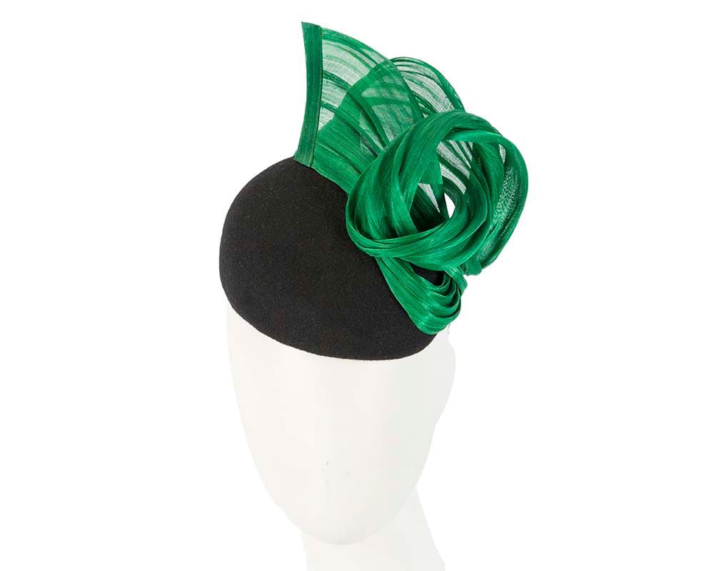 Black & green winter pillbox with silk abaca trim