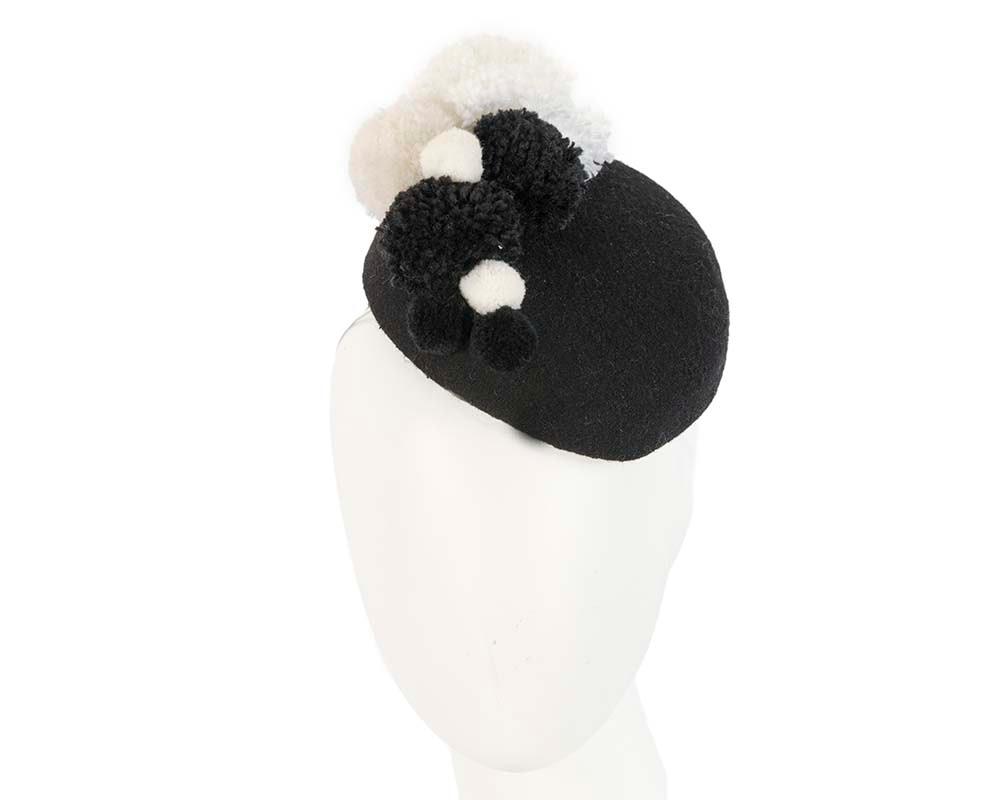 Black winter pillbox with pompoms