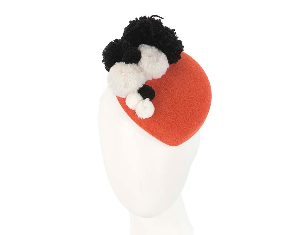 Orange winter pillbox with pompoms