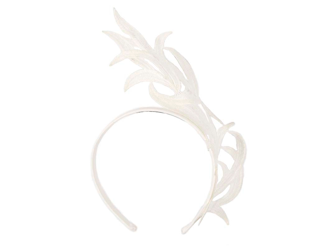 Ivory lace crown fascinator headband by Max Alexander