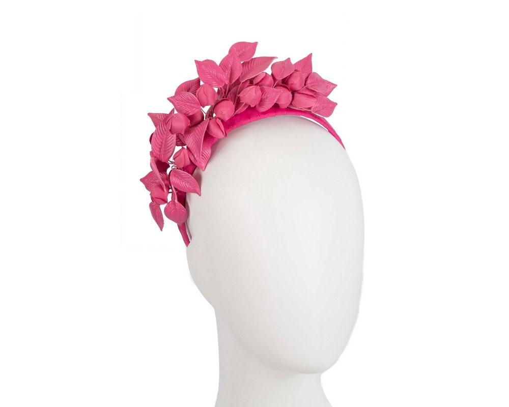 Fuchsia sculptured leather flower headband fascinator by Max Alexander