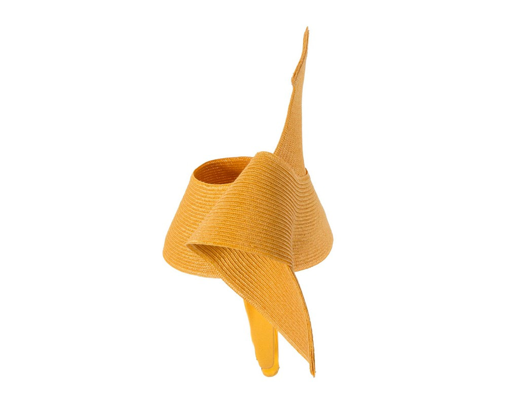Modern mustard yellow fascinator by Max Alexander