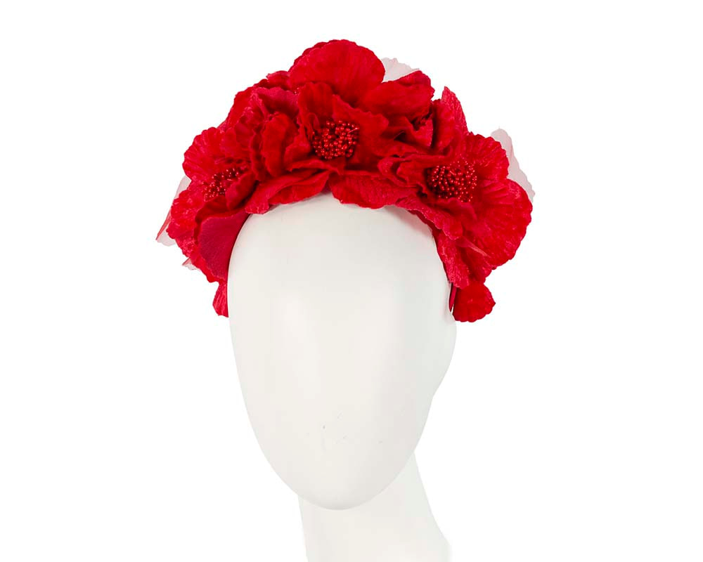 Bright Red flower halo fascinator
