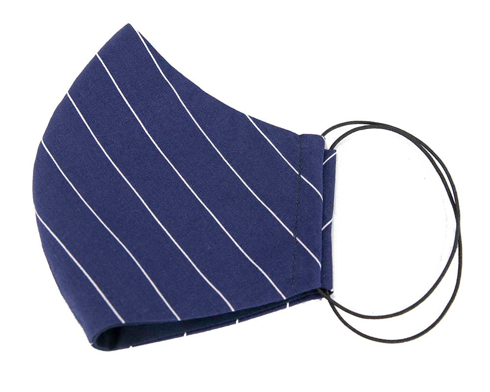 Comfortable re-usable navy cotton face mask with stripes