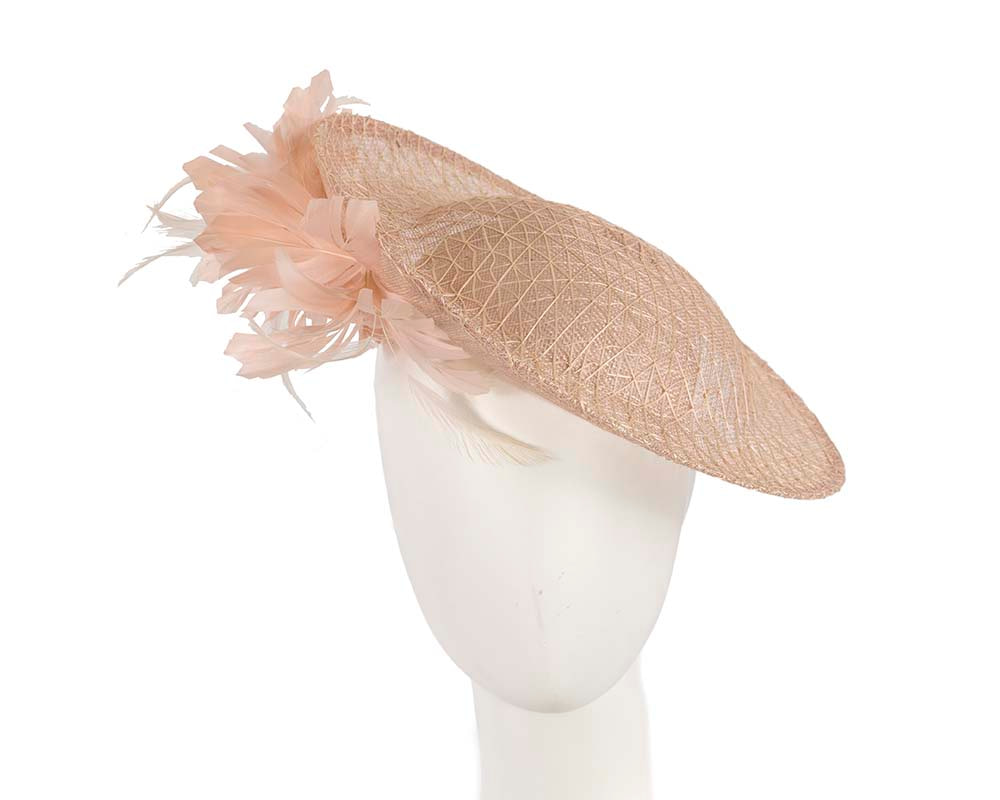 Large pink plate fascinator by Cupids Millinery Melbourne
