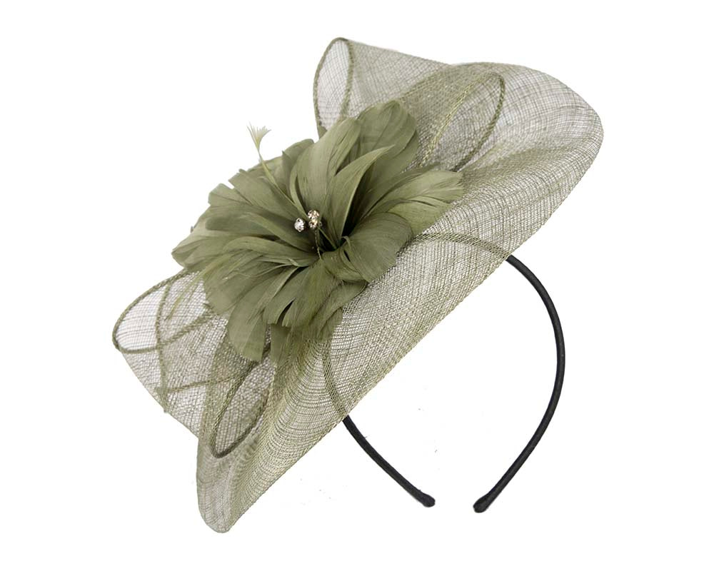 Olive fascinator by Cupids Millinery Melbourne