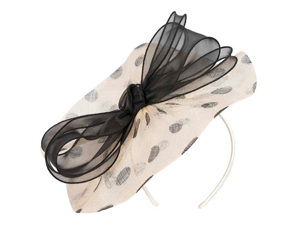 Cream & black fascinator by Cupids Millinery Melbourne
