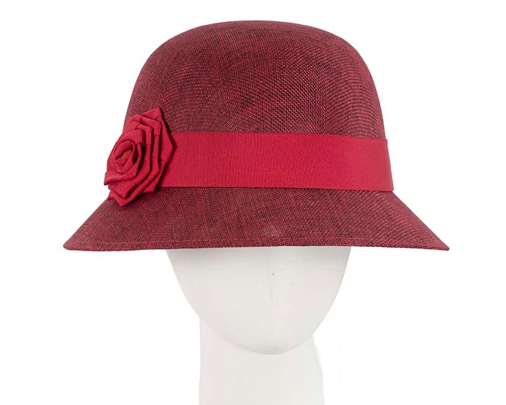 Burgundy red cloche hat