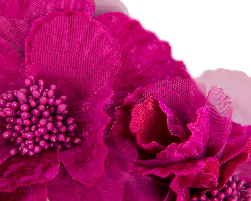 Fuchsia flower halo fascinator