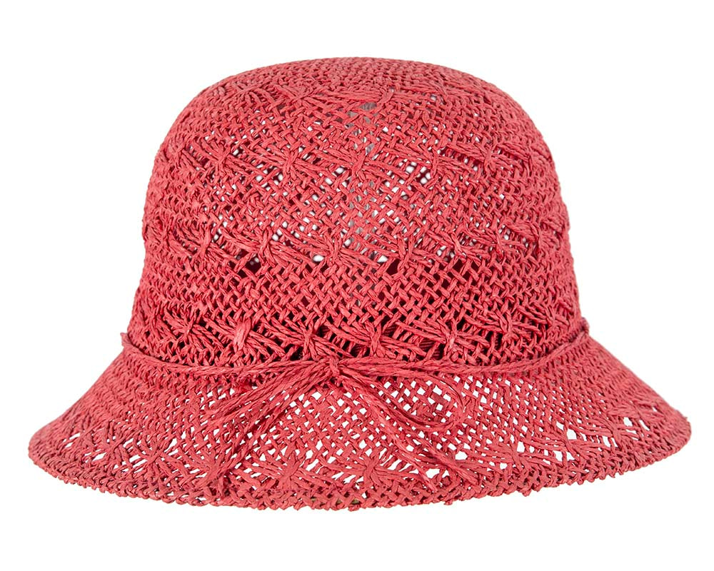 Crocheted red cloche hat