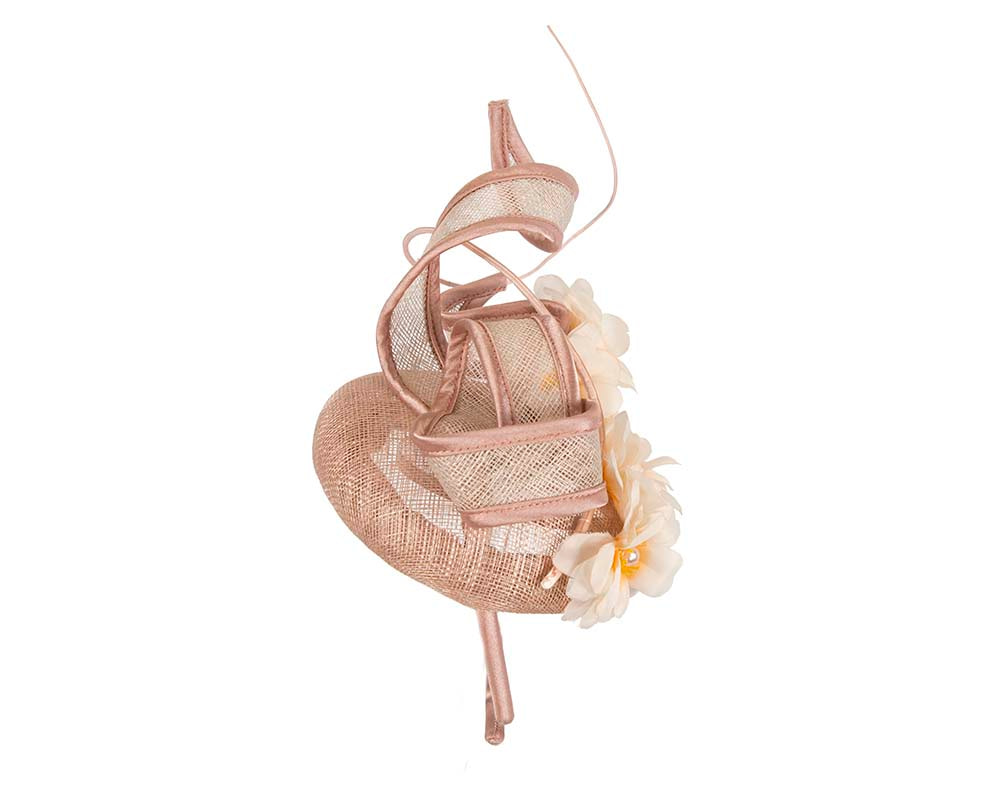 Taupe racing fascinator with flowers by Cupids Millinery Melbourne