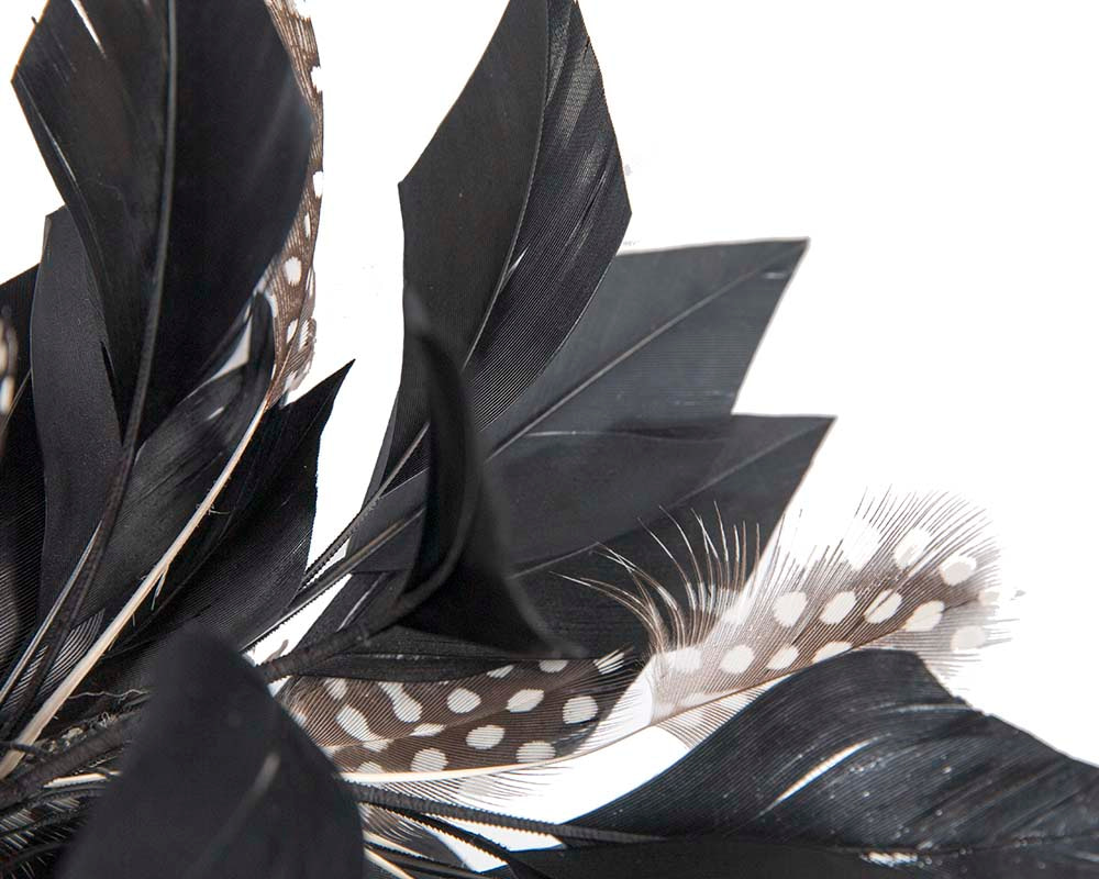 Large black feather fascinator by Cupids Millinery Melbourne