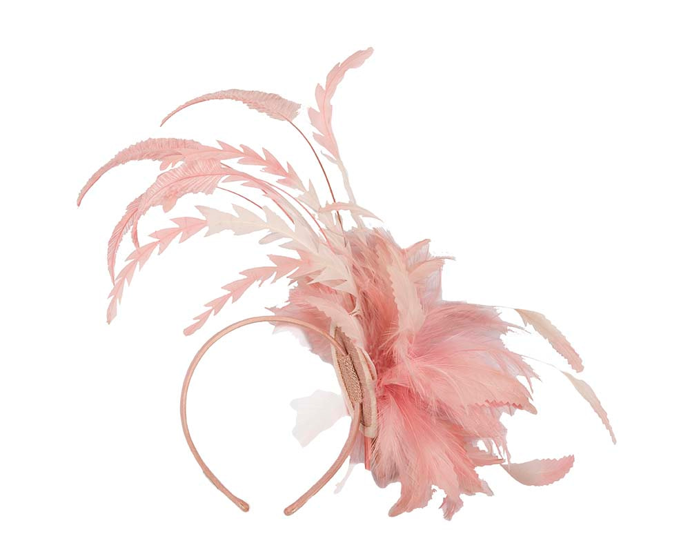 Large pink feather fascinator by Cupids Millinery Melbourne