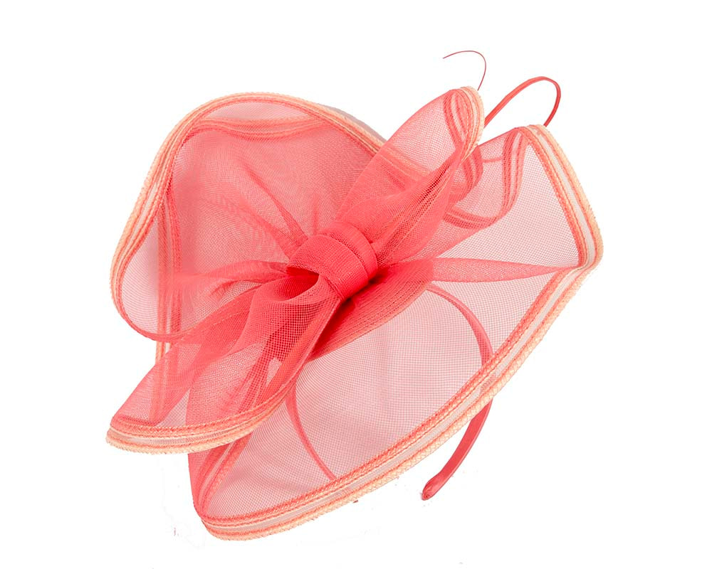 Large coral racing fascinator by Cupids Millinery Melbourne