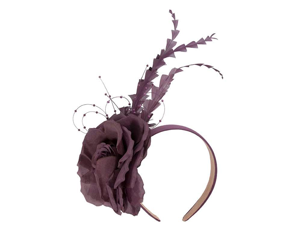 Purple flower feather fascinator