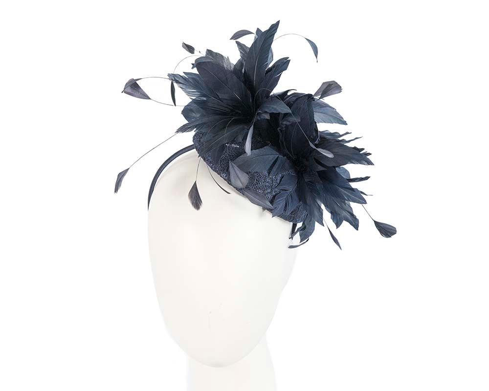Large navy pillbox with feather flower by Cupids Millinery