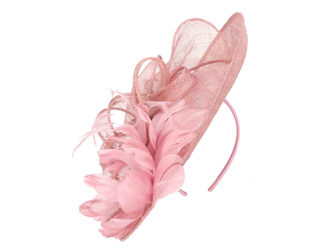 Large dusty pink feather fascinator by Cupids Millinery