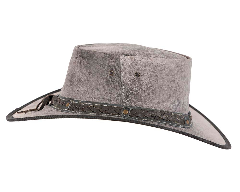 Grey Australian Kangaroo Leather Crushable Outback Jacaru Hat