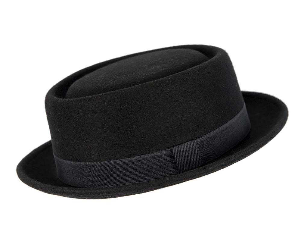 Black Porkpie Felt Hat