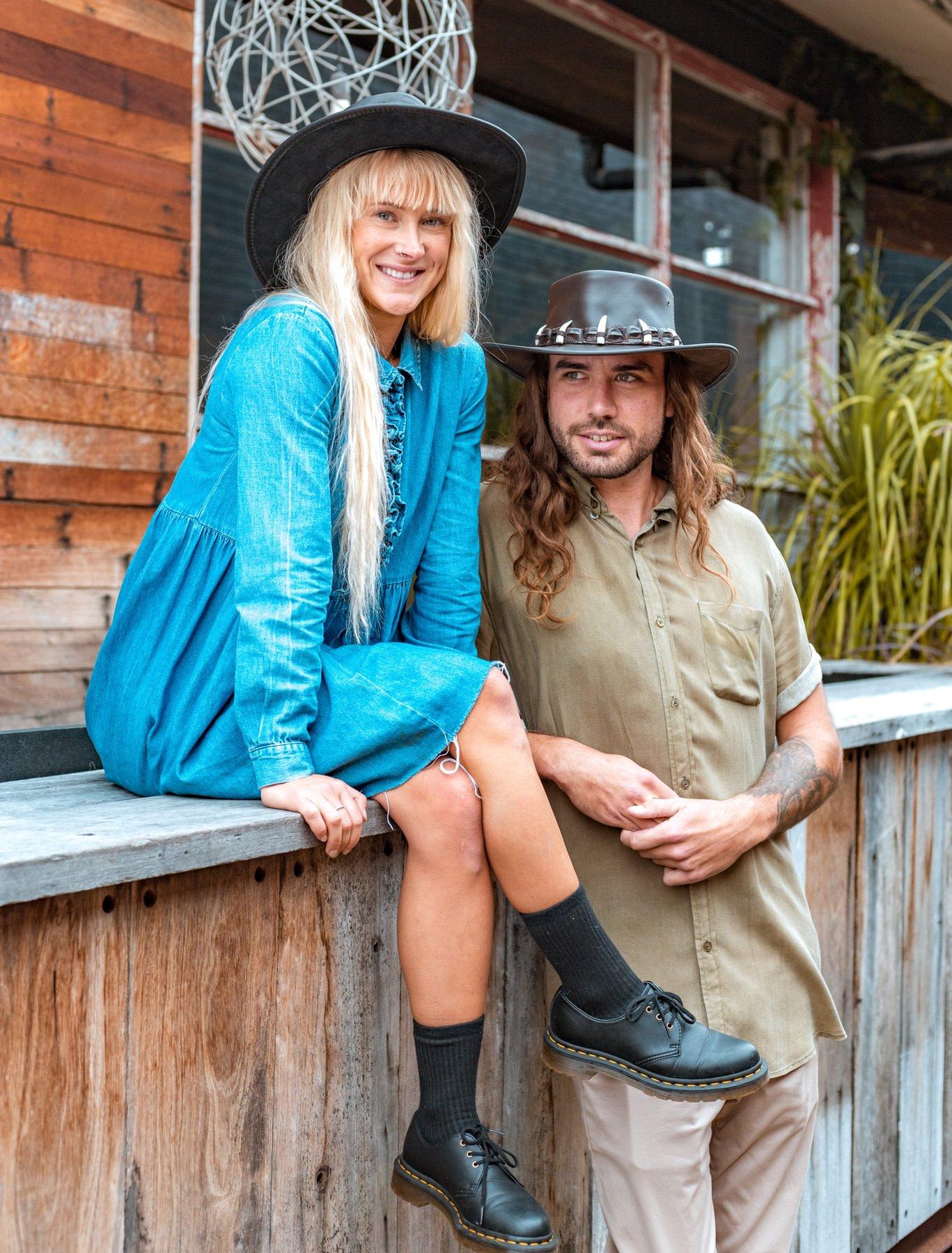 Black Australian bush wool felt hat buy online M108