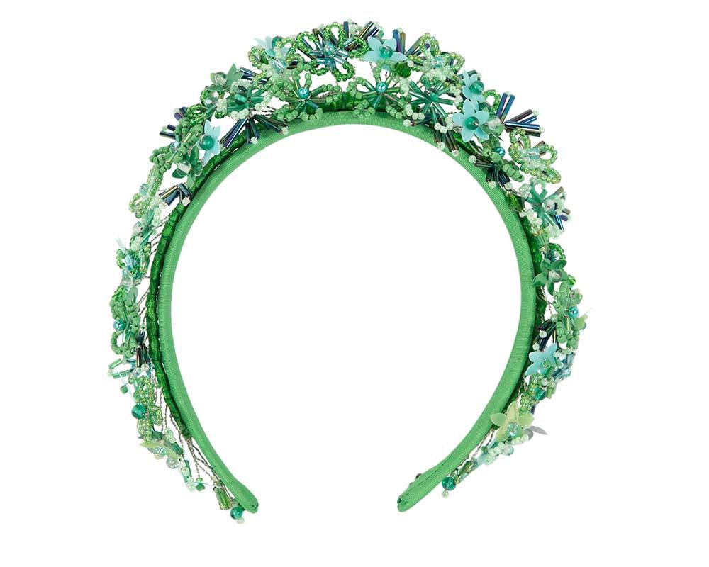Bespoke green designers fascinator headband by Cupids Millinery