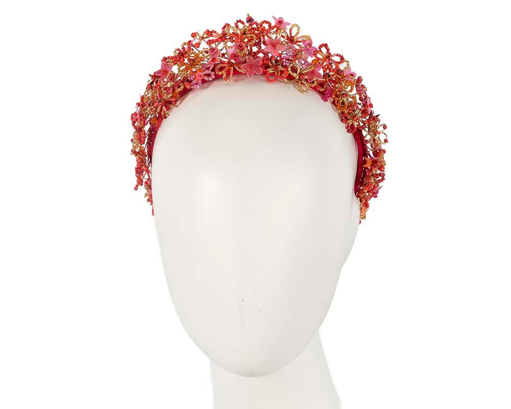 Bespoke red designers fascinator headband by Cupids Millinery