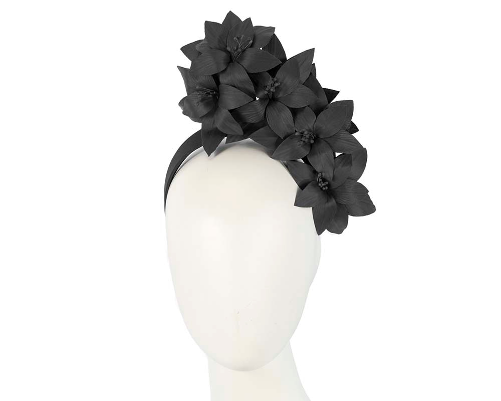 Black leather flower headband fascinator by Fillies Collection