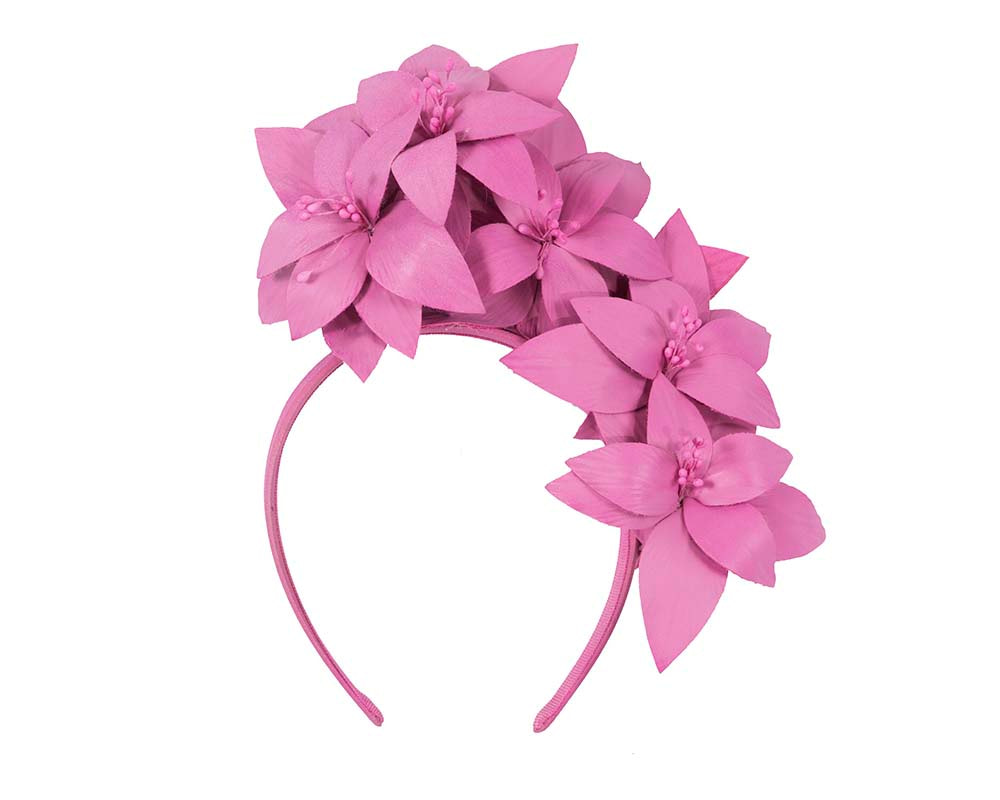 Fuchsia leather flower headband fascinator by Fillies Collection