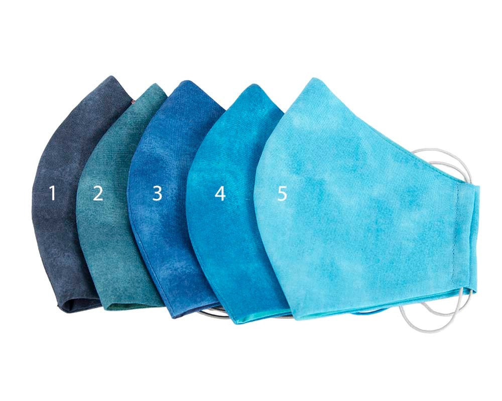 Comfortable re-usable cotton face mask with shades of blue