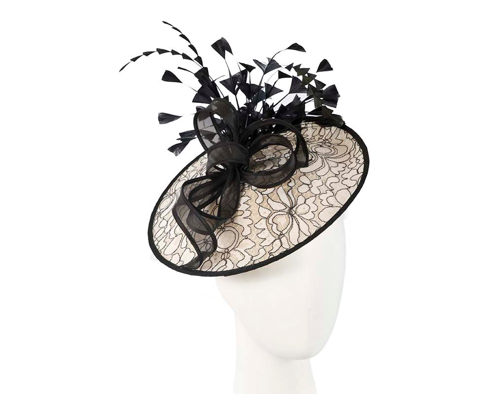 Large cream and black fascinator by Cupids Millinery
