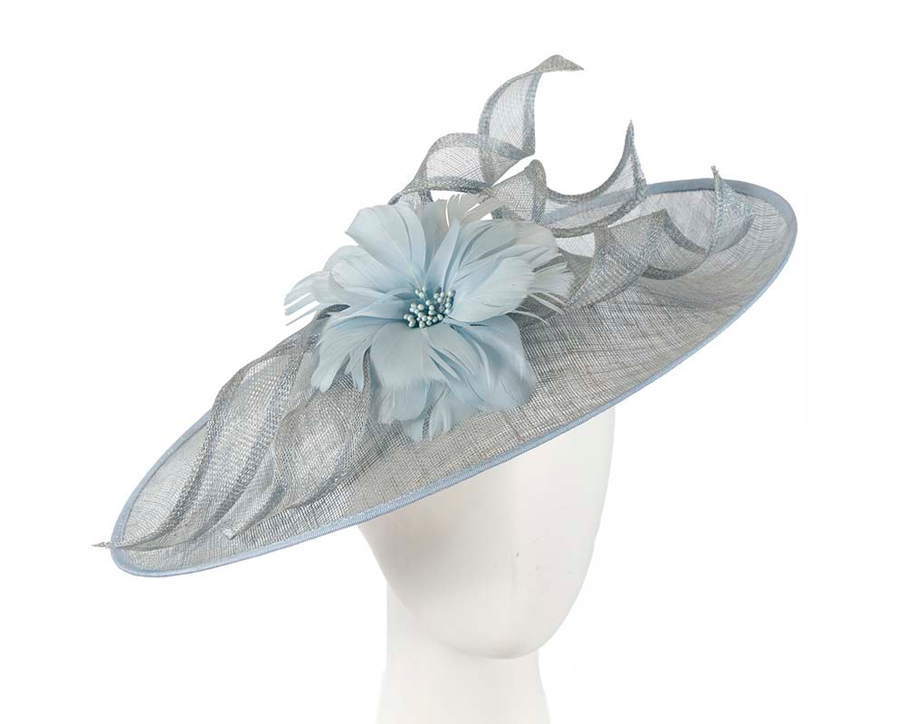 Large light blue fascinator by Cupids Millinery