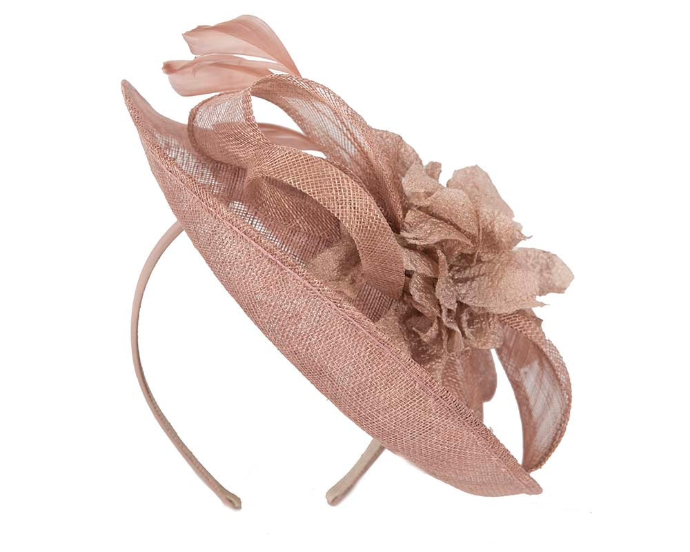 Taupe nude sinamay fascinator by Cupids Millinery