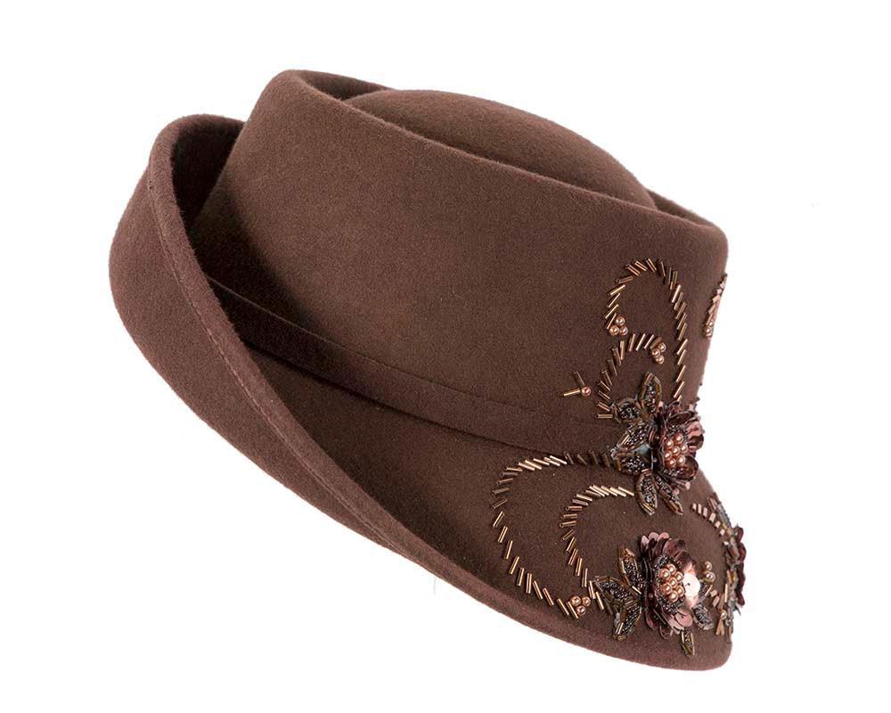 Chocolate felt bucket fashion hat